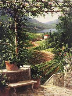 Chianti Vineyard Fronckowiak Landscapes Europe Italy Wine Print Poster 20x26