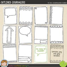 Outlined Journalers  Super cute! Buy for only $3.49 or do what I'm gonna do and draw them out yourself. Just say'n! ;)