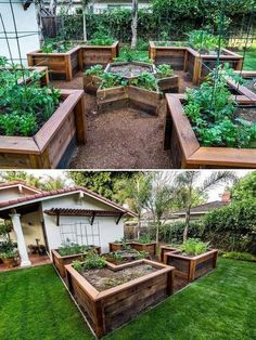 Lots of DIY raised garden bed ideas and tutorials so you can design and build your dream raised vegetable garden beds. Pros of raised garden bed Elevated Garden Beds, Raised Garden Bed Plans, Building A Raised Garden, Raised Bed Garden Layout, Small Raised Garden Ideas, Raised Garden Planters, Garden Layouts, Backyard Vegetable Gardens, Vegetable Garden Design