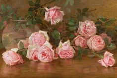 Edith Blanco Rosas 1901 At first I thought this was beautiful and something I'd put in my daughter's room but when I looked at it up close it made me sad. Art Floral, White Roses, Pink Roses, Vintage Rosen, Illustration, Fine Art Auctions, Rose Art, Beautiful Paintings, Flower Art