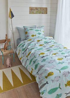 BEDDINGHOUSE dekbedovertrek Beddinghouse Kids Fishy Mint Green