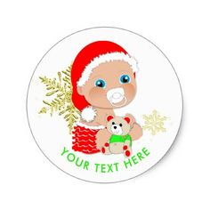 Cute Christmas Santa Baby Personalized Classic Round Sticker - red gifts color style cyo diy personalize unique