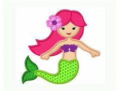 Instant Download Cute Mermaid Applique Machine Embroidery Design NO:1305