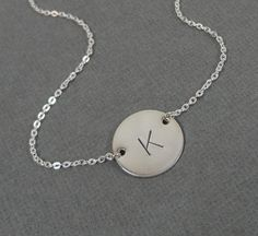 Sterling Silver Initial Necklace  5/8 initial Disc by SivadoStudio, $30.00