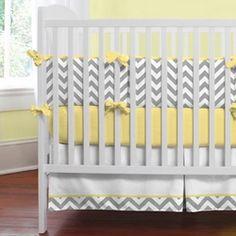 Gray and Yellow Zig Zag Crib Bedding | Bold Chevron Stripe Crib Bedding for Girls or Boys | Carousel Designs