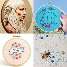 it's #followfriday !!   i decided to post four more stitchers i've been crushing on - tap the photo to go to their insta pages and see alllllllll the beautiful embroidery and follow them.   @julie.sarloutte // thread painting pop culture and gorgeous color choices  @interestincolors // super distinctive stitching style  great text and line work  @heartoftheheartembroidery // perfectly tiny florals  creatures embroidered jewelry  @ngaio_rue_blackwood // painting  delicate nature themed…