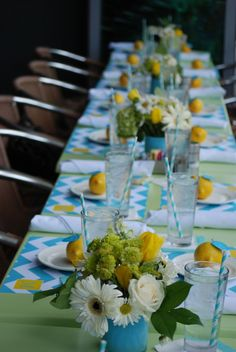 Gender Neutral Baby Shower. blue green and yellow