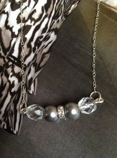 Grey glass pearls and crystal beads are suspended by a delicate silver plated chain. Gift Idea for Birthday or Anniversary Handmade Jewelry www.bluedoorbazaar.storenvy.com
