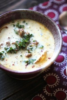 Zuppa Toscana {Creamy Potato & Kale Soup with Italian Sausage} Substitute with Coconut Milk instead of cream for dairy free.