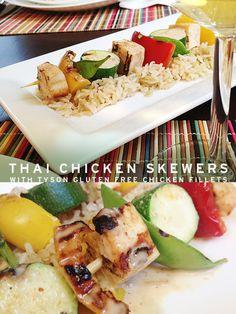Ad: Thai Chicken Skewers Featuring Tyson Gluten Free Grilled & Ready Chicken Fillets from Sam's Club - Snack Fixation  #CookItGF #shop