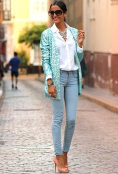 candy jeans with pink heels and blue sequin blazer. So simple