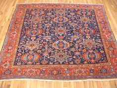 "Persian: Geometric 8' 0"" x 8' 5"" Antique Heriz Karaja at Persian Gallery New York - Antique Decorative Carpets & Period Tapestries"