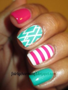 Adorable pink and turquoise nails for spring and summer!!!