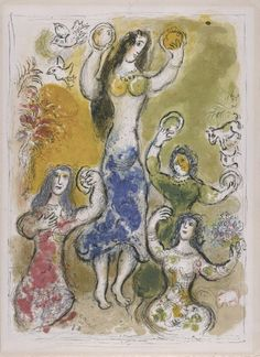 Marc Chagall  (French, b. Belorussia, 1887-1985) 'Dance of Miriam, Sister of Moses', from The Story of the Exodus, 1966