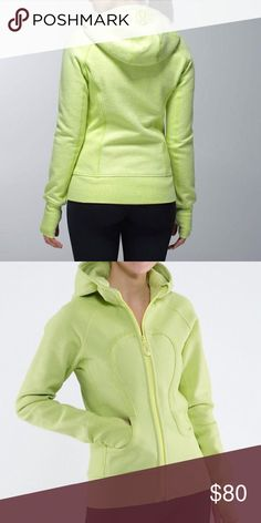 Lululemon Scuba Hoodie Good used condition. Lime / yellow color.  I'm not completely sure what size this is, because I'm a size 4 and it seems a bit roomy on me so it could be a size 6. But I can't remember what it actually is. If anyone wants certain measurements to figure out the size I can supply them; just ask! 🌸 lululemon athletica Sweaters
