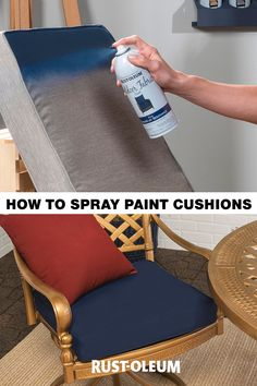 Are you looking for a way to paint last year's patio cushions without the need to recover them? Refresh your outdoor fabric on a budget with this easy and fast DIY project using Rust-Oleum Outdoor Fabric Paint and bring pride back to your patio! Furniture Projects, Furniture Makeover, Diy Furniture, Painting Furniture, Do It Yourself Furniture, Do It Yourself Home, Outdoor Cushions, Outdoor Fabric, Recover Patio Cushions