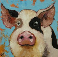 Pig painting 53 12x12 inch original oil painting by Roz by RozArt, $85.00