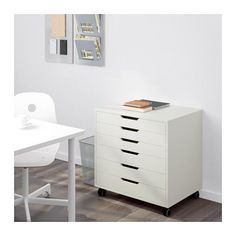 IKEA - ALEX, Drawer unit on casters, white, , Drawer stops prevent the drawer from being pulled out too far.This unit can be placed anywhere in the room because it is finished on the back.