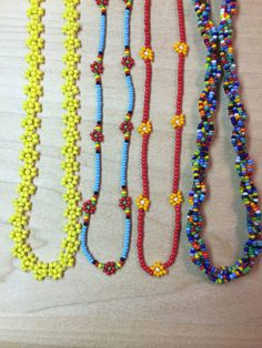 Seed Bead Flower Necklace-Set of Four Seed Bead Necklace, Flower Necklace, Necklace Set, Seed Beads, Beaded Necklace, Beaded Bracelets, Cute Jewelry, Diy Jewelry, Beaded Jewelry