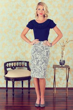 Navy blouse & a printed pencil skirt