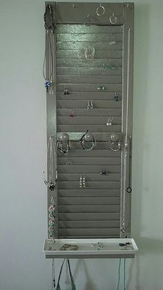Jewelry organizer made from old shutter