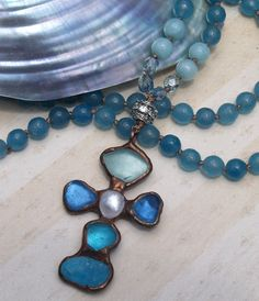 32 Bohemian Knotted Necklace with Faceted Gemstone door gleegallery, $235.00