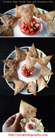 """""""Cinnamon Sugar Tortilla Chips with Strawberry Salsa"""", a sweet spin on the classical chips n salsa. The perfect balance of juicy, sweet and tart strawberries with the crispy, sweet and cinnamon flavored chips."""