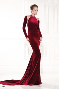 8a3d8b163298b Sheath High Neck Burgundy Velvet Long Sleeve Winter Evening Dress With Train