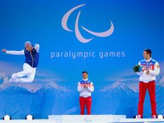 14 March Sochi 2014 Paralympic Games - Day 8 Medal Ceremony Silver medalist Vincent Gauthier-Manuel of France, gold medalist Alexey Bugaev of Russia and bronze medalist Alexander Alyabyev of Russia celebrate during the medal ceremony for Alpine Skiing Men's Slalom Standing