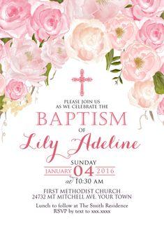 Invitación de bautizo Floral rosa. Acuarela de color de rosa