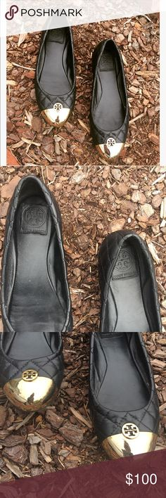 Tory Burch cap toe flats sz: 8 Worn many times and still in excellent condition! Black quilted leather, features gold cap toe Tory Burch flats sz: 8. Some wear on the bottom soles as pictured. No flaws or signs of major wear 💖 Tory Burch Shoes Flats & Loafers