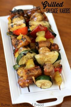 Grilled Sausage Kabobs ~ a #recipe from the ladies at Butter With A Side o f Bread #sausage #grilling