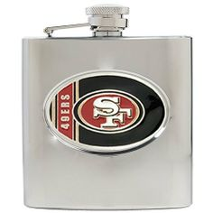 NFL San Francisco 49ers 6oz Stainless Steel Hip Flask by Great American Products. $29.99. Handcrafted  high-quality metal logo. High quality collectible design. Proudly displays hand-crafted metal emblem featuring the Team Logo.. Officially Licensed flask decorated in team colors.
