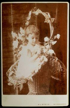 Cabinet Photo Boy Wicker Flower Basket White Dress #2 Stein Milwaukee Wisconsin