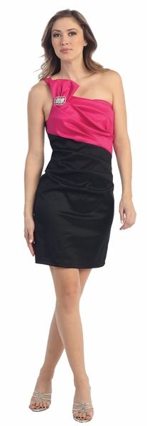 Sexy Short Two Tone Black/Fuchsia Cocktail Dress One Shoulder Strap $78.99