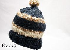 Wool Manly Outdoorsman Hat Mens Handknit Wool Hat Women Ski Hat Warm Hunting Hat Mens Winter Hat Stocking Hat Wool Ski Hat Blue Brown Wool by Knitrx on Etsy