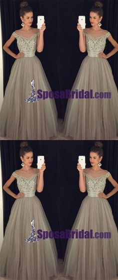 Off Shoulder Unique Floor-length Gray Tulle A-Line Real Made Long Prom Dresses, modest evening dresses,PD0763