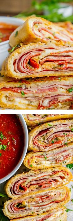 Classic Stromboli Recipe (Easy Dinner or Quick appetizer!) Stromboli is basically pizza that's been rolled up like a cinnamon roll. The classic ingredients include mozzarella, ham, and salami. I threw in some pepperoni and pepper jack cheese just for fun. Quick Appetizers, Appetizer Recipes, Party Appetizers, Salami Appetizer, Salami Sandwich, Salami Recipes, Pepperoni Recipes, Cheese Recipes, Easy Dinner Recipes