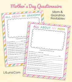 Cute printable mother's day questionnaire! Kids will love filling these out and giving them to their mom or grandma.