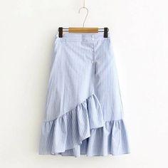 Cheap asymmetrical skirt, Buy Quality skirts womens directly from China skirt styles Suppliers: Spring Summer Casual Japan Style Striped Asymmetrical Skirts Women Elastic Waist Cotton Linen Kawaii Female Vestido Skirts U196