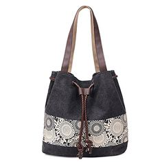 WLE A004 Black Comfort Tote Medium Size Canvas Printing Paisley Sun Flower Pattern Design Waterproof Shoulder Bags for Women Girls Ladies *** Click image to review more details.Note:It is affiliate link to Amazon.