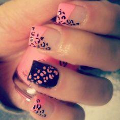 nailart pink & black fashion  grrrr :P style 5+