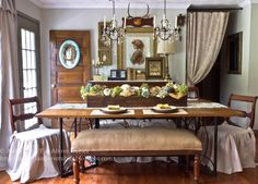 **1**Beautiful dining table centerpiece, rustic chairs dressed up and bench...Far Above Rubies: Fall Home Tour