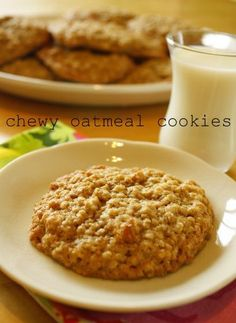 Chewy Oatmeal Cookies 1 cup butter 1 cup packed brown sugar 1/3 cup white sugar 2 eggs 1 1/2 tsp vanilla extract 1 1/2 cup flour Pinch of cinnamon 1/2 tsp baking soda 1 tsp salt 3 cups quick cooking oats
