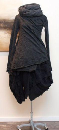 rundholz - Pullover Wickel gekochte Wolle anthra - Winter 2013