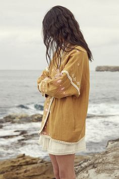 Embroidered Linen & Cotton Jacket | Louise Misha