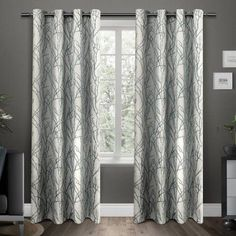 Branches Grommet Top Window Curtain Panels, Black Pearl, Set of 2, 54 inch x 84 inch, Blue