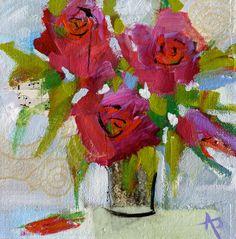 "Andrea Pottyondy, Feeling Groovy, mixed media on canvas, 8"" x 8"", $150"