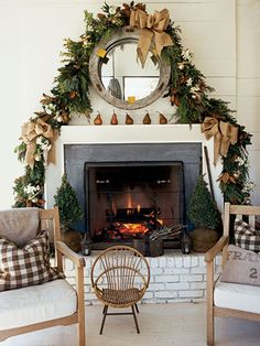loft & cottage: dressing up a fireplace for christmas