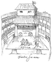History of theatre - Wikipedia, the free encyclopedia A 1596 sketch of a performance in progress on the thrust stage of The Swan, a typical Elizabethan open-roof playhouse.